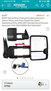 Tow Mirror Power Heated Signal Spotlight Black Pair For 03 06 Gm Chevy Truck
