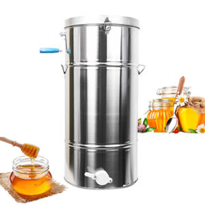 2 Frame Manual Bee Honey Extractor Beekeeping Equipment Large Stainless Steel
