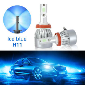 2x Cob H11 H9 H8 Led Headlight Kits 20000lm Bulbs High Power Beam 8000k Ice Blue