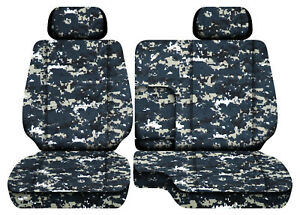 Digital Camo Navy Car Seat Covers Fits 95 00toyota Tacoma Front Bench 60 40 2hr