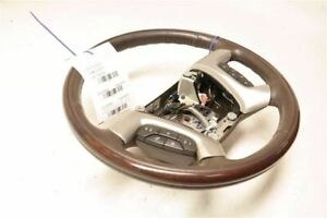 Brown Wood Leather Steering Wheel With Buttons Fits 07 Cadillac Escalade Esv Oem