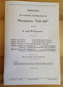 Pneumatic Lift all Ih Farmall A B Tractor Exhaust Lift Operator s Parts Manual