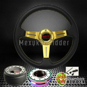 Gold Deep Dish Steering Wheel Neo Chrome Quick Release For Honda Civic 92 95