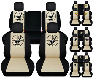 Front Rear Car Seat Covers Blk Beige W Frog Deer Fits Jeep Liberty Limited02 07