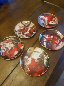 1994 FRANKLIN MINT COCA COLA SANTA PLATES LIMITED EDITION  5 PLATES