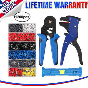 Wire Stripper 6 4 Wire Crimper Plier 1200 Connectors Terminal Crimp Tool Kit