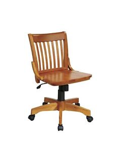 Office Star Deluxe Armless Wood Bankers Desk Chair Wood Seat Fruit Wood 101fw
