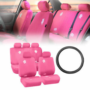 Floral Pink Car Seat Covers For Auto With Leather Steering Wheel Cover