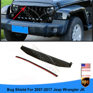 For 07 17 Jeep Wrangler Jk Abs Blk Bug Shield Front Grille Deflector Accessories