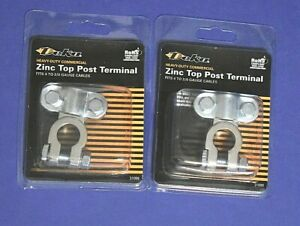 2 Zinc Top Post Heavy Duty Battery Terminals 4 To 2 0 Gauge Cable Lead Free