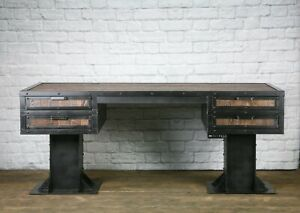 Industrial Sit stand Desk Reclaimed Wood Sit To Stand Desk Vintage Industrial