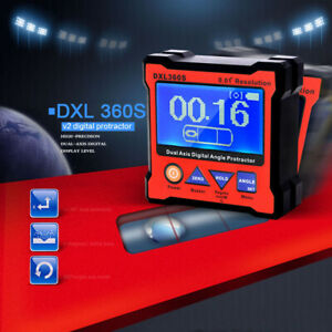 Portable Digital Dual axis Angle Protractor Gauge Level W 5 Side Magnetic Base