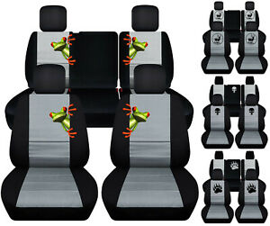 Front Rear Car Seat Covers Blk Light Gray W Frog Fits Jeep Liberty Limited 02 07