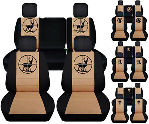 Front Rear Car Seat Covers Blk Tan W Army Star Fits Jeep Liberty Limited 02 07
