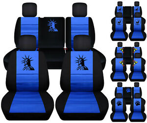 Front Rear Car Seat Covers Blk Blue W Bear Claw Fits Jeep Liberty Limited 02 07