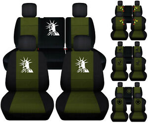 Front rear Car Seat Covers Blk hunter Green Fits Jeep Liberty Limited 02 07