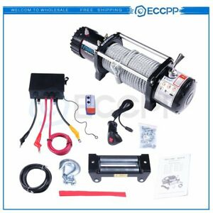 Eccpp 12v 12000lbs Electric Winch Steel Cable Truck Trailer Towing Off Road 4wd