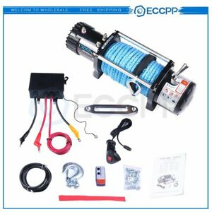 Eccpp 12v 13000lbs Electric Winch Synthetic Rope Truck Jeep Offroad Trailer 4wd