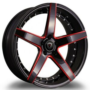 4pcs staggered Marquee M3226 22x9 10 5 5x115 15 20 Gloss Black Red Milled