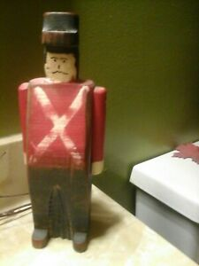 Vintage Detailed Carved Painted Wooden Soldier Toy Figure 1982 Signed 10 5 T