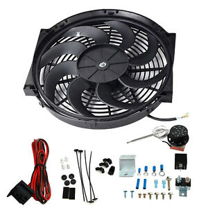 14 Electric Radiator Fan High 2500cfm Thermostat Wiring 3 pin Switch Relay Kit