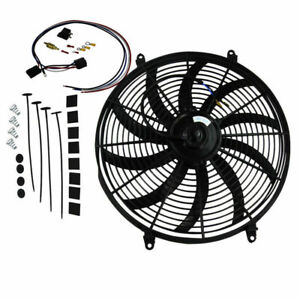 16 Inch 12v Fan Slim Push Pull Electric Radiator Fan Thermostat Relay Kit