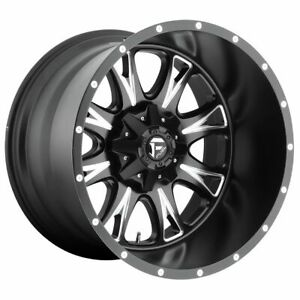 Four 4 20x10 Fuel Throttle Et 12 Black Milled 6x135 Wheels Rims