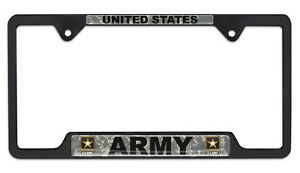 United States Army Camo Black Open License Plate Frame