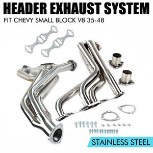 Exhaust Manifold Stainless Fat Fender Well Header For Chevy Small Block V8 35 48