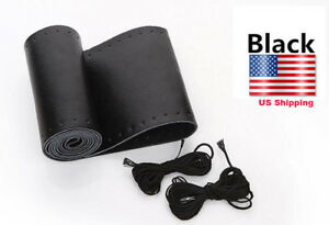 38cm Black Genuine Leather Steering Wheel Cover Wrap Sew On Kit For All Car