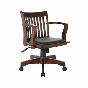 Office Star Deluxe Wood Bankers Desk Chair Black Vinyl Padded Seat Espresso