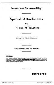 Ih Farmall Optional Special Attachments Manual H Hv M Md Mv Steel Wheels Booklet
