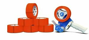 Red Tape Rolls Moving Tape 110 Yard X 2 Inch 2mil Thick 6 Rolls Dispenser