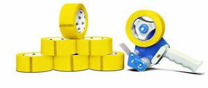 Yellow Tape Rolls moving Tape 110 Yard X 3 Inch 2mil Thick 6 Rolls Dispenser