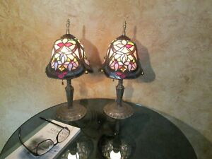 Pair Of Antique Jeweled Leaded Stained Glass Solid Bronze Art Deco Lamps