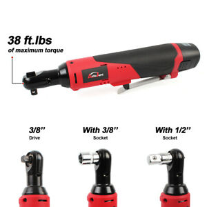 12v 3 8 Cordless Electric Ratchet Wrench Ratcheting Right Angle Socket Li ion
