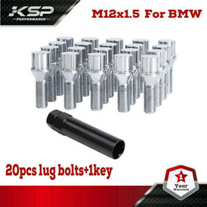 20 Bmw Chrome Lug Bolt Wheel Locks Key 12x1 5 For M3 M5 335 135 E46 F10 F30