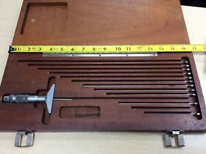 Vintage Brown And Sharpe Depth Micrometer Caliper Gage Ships Free