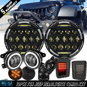 7inch Round 75w Headlights W Turn Lights smoke Tail Lights For 2007 17 Jeep Jk