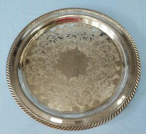 Vintage Wm A Rogers Silver Plated Serving Tray Platter 12 1 4 Inches