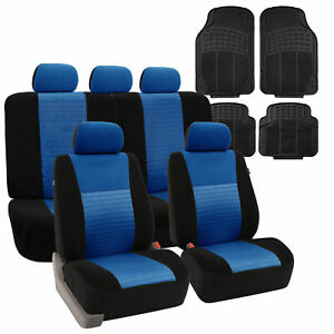 Blue Seat Covers For Auto Car Sedan Suv Auto W Black Floor Mats Combo