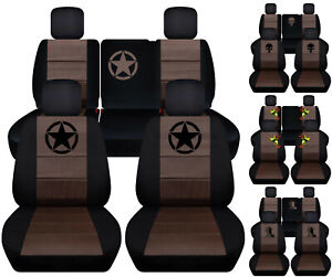 Front rear Car Seat Covers Blk brown W Frog bear Claw Fits Jeep Liberty08 12