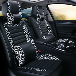 Leopard Pu Leather Car Seat Cover 5 Seat Universal Protector Cushion Full Set Us