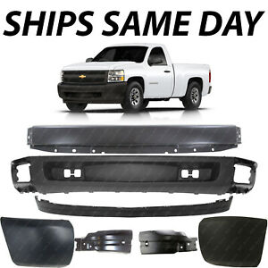 New Primered Front Bumper Complete Kit For 2007 2013 Chevy Silverado 1500 07 13