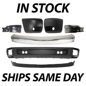 New Chrome Front Bumper Complete 7pc Kit For 2007 2013 Chevy Silverado 1500
