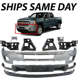 New Chrome Front Bumper Complete 9pc Kit For 2011 2014 Chevy Silverado 2500 3500