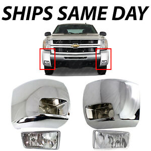 New Chrome Front Bumper End Fog Light Kit For 2007 2013 Chevy Silverado 07 13