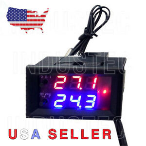 2 Digital Led Microcomputer thermostat Controller Switch With Sensor 12 Vdc