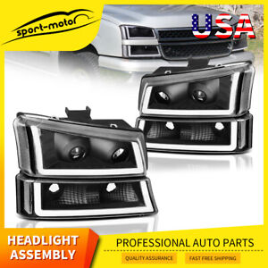For 03 06 Chevy Silverado Led Drl Clear Lens Reflectors Headlight Headlamp Black