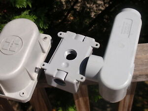3 Outdoor Electrical Junction Boxes Gray Plastic Hubbell Scepter